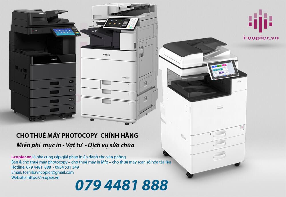 Cho thuê máy photocopy (photocopier rental service) là một loại dịch vụ thuê máy photocopy được cung cấp bởi công ty mai hoàng chuyên cho thuê máy photocopy để sử dụng, thay vì mua máy. Cho thuê máy photocopy giá rẻ , Giao hàng tận nơi, bảo hành như máy mới , bảo trì trọn đời. Thời gian khắc phục sự cố dưới 2 giờ. Miễn phí vận chuyển, cài đặt tận nơi, team view. Có Nhiều Năm Kinh Nghiệm. Nhiều Khách Hàng Sử Dụng. Giá Tốt Với Nhiều ưu đãi Thuê máy photocopylà giải pháp được các tập đoàn trong và ngoài nước hướng đến từ lâu bởi thuê máy photocopy giúp họ tiết kiệm được nhiều khoản có thể phát sinh như phí bảo trì, thay thế các vật tư hao mòn hay thậm chí là đội ngũ IT quản trị máy photocopy. Ngoài ra, khi thuê máy photocopy, bạn cũng sẽ không phải chi trả các chi phí về thay mực in cũng như chi phí cho việc nâng cấp máy, bên cho thuê máy photo giá rẻ sẽ thay bạn thực hiện những việc này mà bạn không phải mất bất cứ một khoản phí nào.